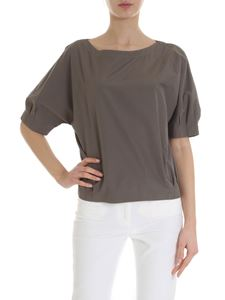 Barba - Brown cotton t-shirt with pinces