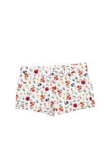 Monnalisa - White shorts with floral and animals print