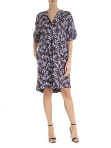 Barba - Brown dress with blue flowers