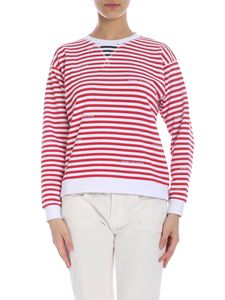 Tommy Hilfiger - Striped sweatshirt with logo in red and white