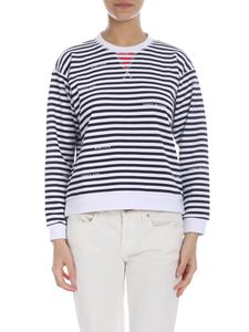 Tommy Hilfiger - Striped sweatshirt with logo in blue and white