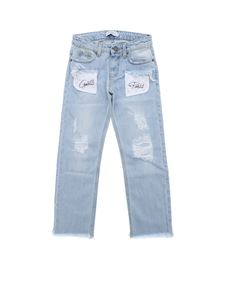 Gaelle Paris - Light blue jeans with macramé details