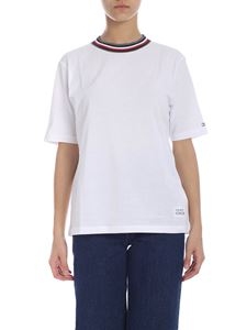 Tommy Hilfiger - White T-shirt with multicolor crew neck