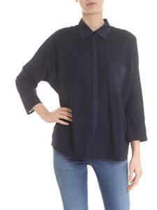 Lamberto Losani - Black and blue shirt in cotton and silk