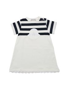 Moncler Jr - White and blue striped dress