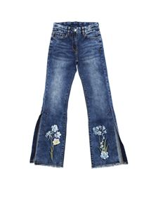 Monnalisa - Blue jeans with floral embroidery