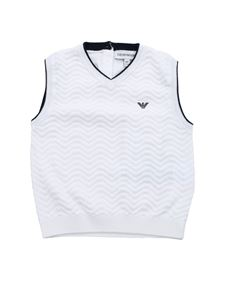 Emporio Armani - White and blue sleeveless sweater