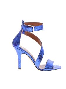 Paris Texas - Blue reptile effect leather sandals
