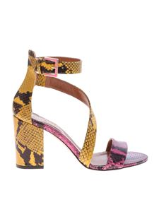 Paris Texas - Yellow and pink reptile effect leather sandals