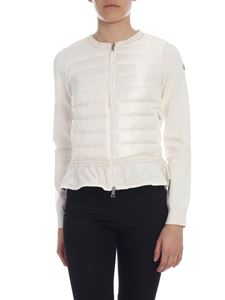 Moncler - Cardigan wirh down front in cream color