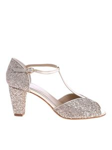Anniel - Gold-colored sandals with glitter inserts
