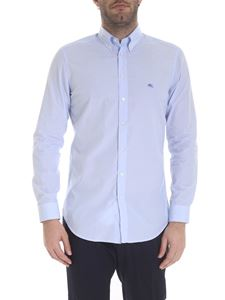 Etro - Button-down shirt in white and light blue striped