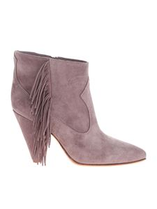 Buttero - Dove gray ankle boots with fringe