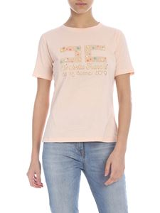 Elisabetta Franchi Jeans - Pink T-shirt with logo decorated with studs