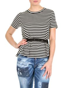 Moncler - Black and white striped T-shirt with belt