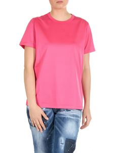 Moncler - Pink crew-neck t-shirt with logo detail