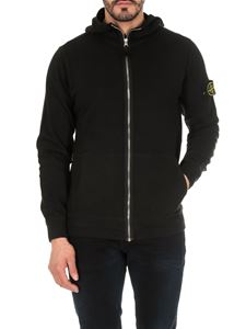 Stone Island - Zipped and hooded sweater in black