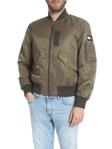 Tommy Hilfiger - Military green bomber jacket with sleeve pocket