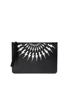 Neil Barrett - Large Lightning Bolt pouch in black
