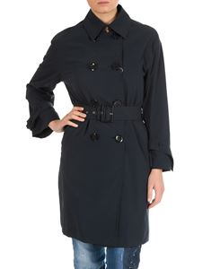 Herno - Blue coated cotton trench coat