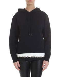 Moncler - Black sweatshirt with lamè logo band