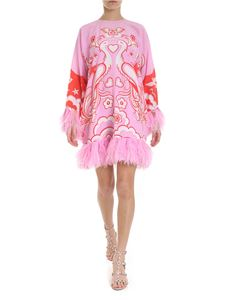 Valentino - Phoenix printed midi dress in pink and red