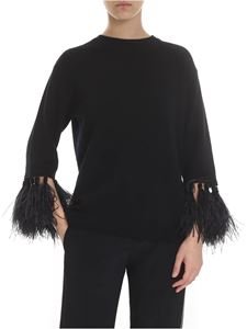 Valentino - Black embroidered sweater with feathers