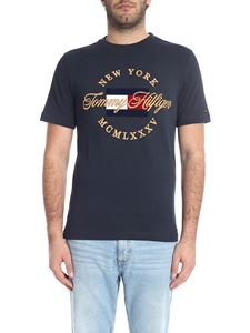 Tommy Hilfiger - Blue crew-neck t-shirt with golden logo embroidery