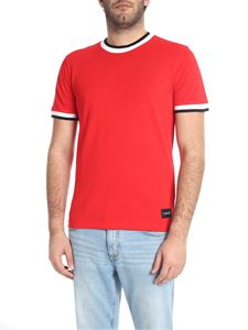 Calvin Klein - Red T-shirt with contrasting sleeves and crew neck