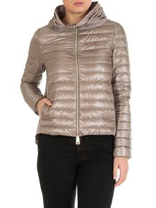 Herno - Flared quilted down jacket in dove grey color