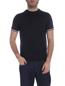 Emporio Armani - Dark blue T-shirt with stripes on the sleeves