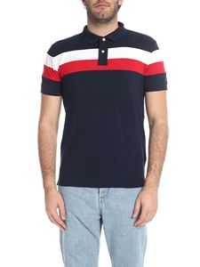 Tommy Hilfiger - Dark blue polo shirt with white and red stripes
