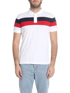 Tommy Hilfiger - White polo shirt with red and blue stripes