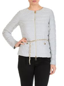 Herno - Silver quilted down jacket with belt