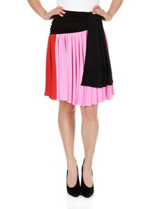 MSGM - Color-block pleated knee-length skirt
