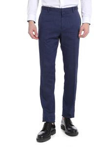 Paul Smith - Melange blue linen blend trousers