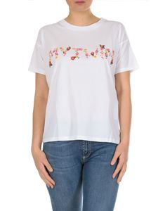MY TWIN Twinset - My Twin floral embroidered t-shirt in white