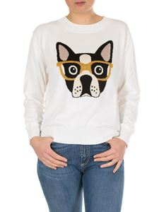 MY TWIN Twinset - White pullover with bulldog intarsia