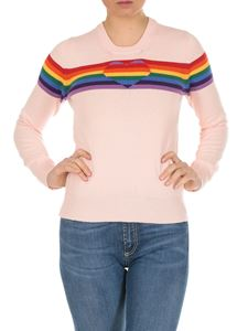Twin-Set - Pullover in pink cotton blend with Rainbow intarsia