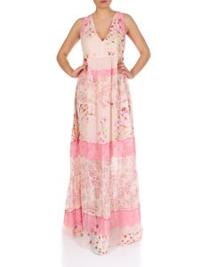 Twin-Set - Pink long dress with floral print