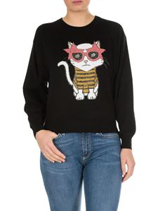 MY TWIN Twinset - Black crew-neck pullover with cat intarsia