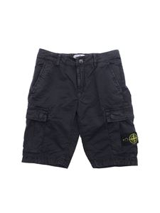 Stone Island Junior - Blue shorts with logo patch