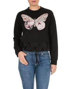 Twin-Set - Black sweatshirt with embroidered butterfly