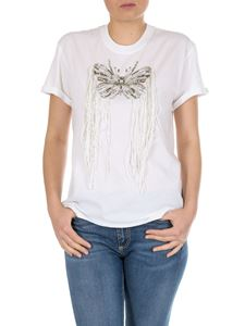 Twin-Set - White t-shirt with rhinestone butterfly embroidery