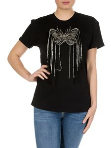Twin-Set - Black t-shirt with rhinestone butterfly embroidery