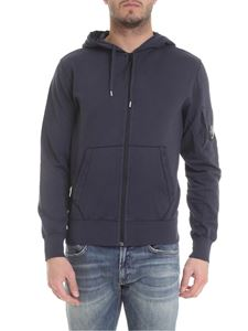 CP Company - Zipped sweatshirt in blue cotton