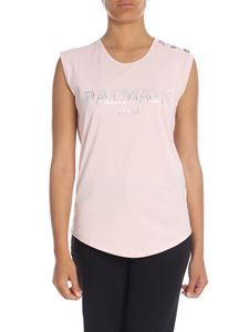 Balmain - Pink top with laminated logo