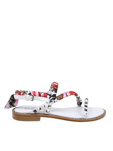 Ash - Pattaya white sandals with floral scarf