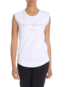 Balmain - White top with laminated logo