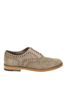 Santoni - Beige suede Oxford shoes with stitchings